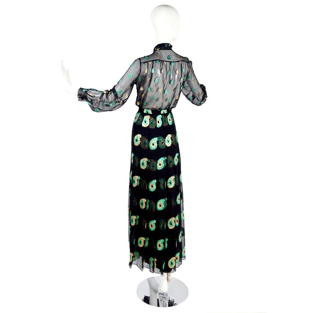 1970s Jean Patou Black Silk Green Gold Paisley Two Piece Evening Dress