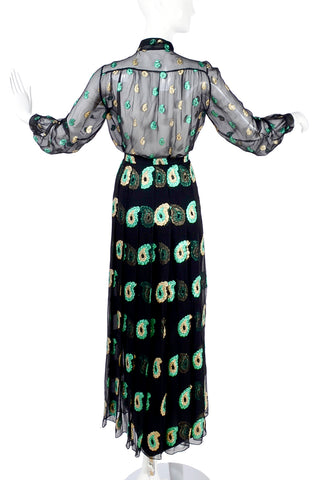 Jean Patou Black Silk Two Piece Evening Dress Metallic Paisley