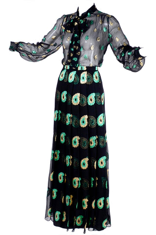 Edwardian Vintage Dress Navy Blue Silk with Rare Circle Print
