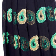 1970s Jean Patou Black Silk Metallic Paisley Two Piece Evening Dress