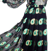1970s Jean Patou Black Silk Paisley pleated Evening Dress
