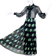 Vintage 1970s Jean Patou Black Silk Paisley Two Piece Evening Dress