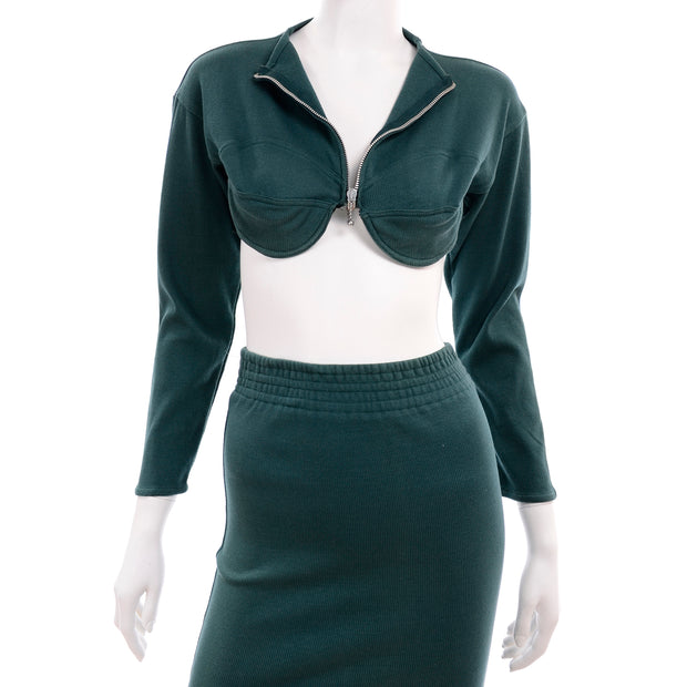 1980s Jean Paul Gaultier Green Cropped Bustier Sweater Top & Skirt