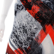 1990s Jean Paul Gaultier Semi Sheer Abstract Red & Black Maxi Skirt