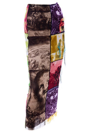 1990s Jean Paul Gaultier Maxi Skirt w/ Iconography & Nature Patchwork