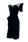 Jane Andre little black dress illusion bodice