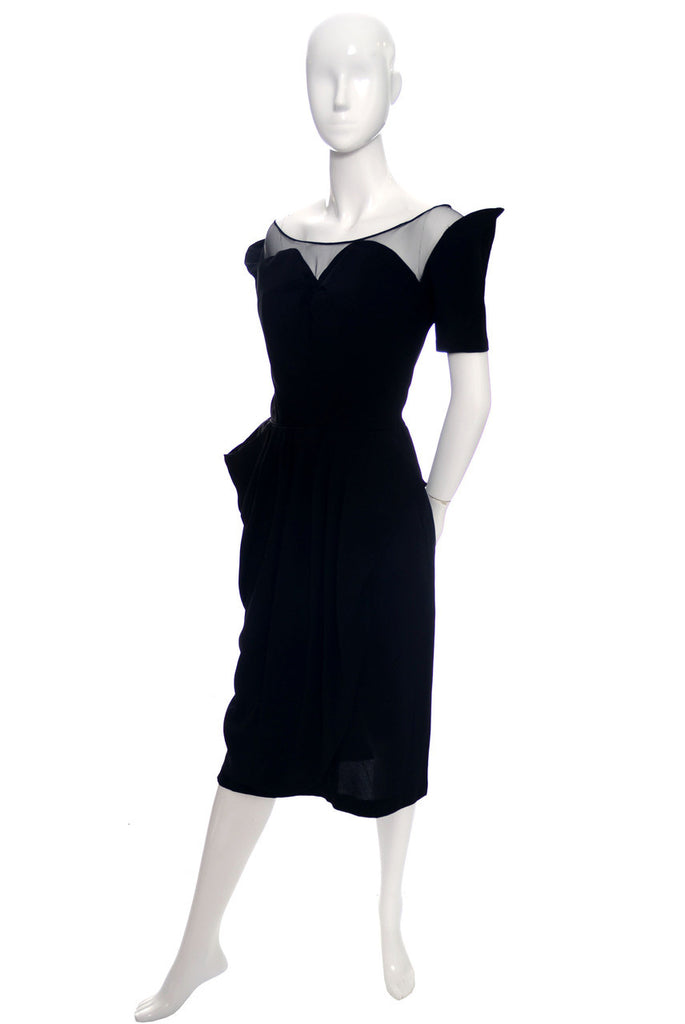 1940s vintage dress black rayon