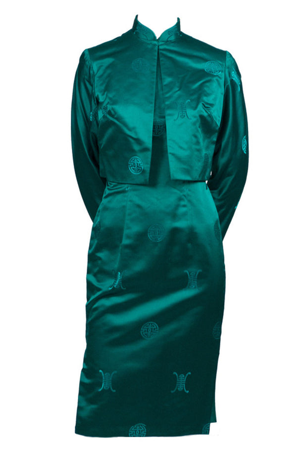 Gene Kristeller Vintage Cheongsam Asian Green Dress and Jacket - Dressing Vintage