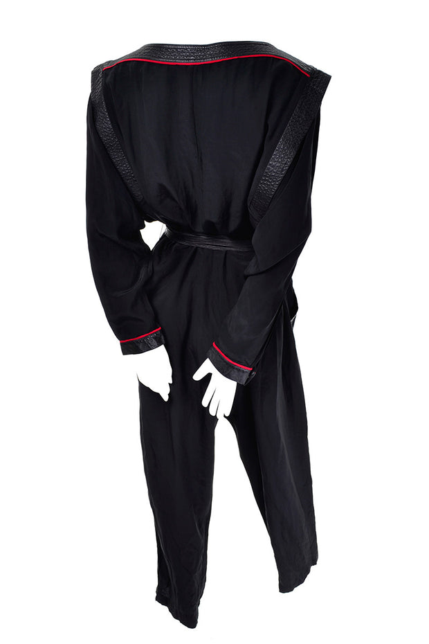 Jordan 1980s vintage black jumpsuit with leather details