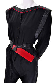 1980s rockstar black and red jumpsuit by Jordan with leather details