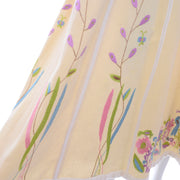 1970s Josefa Cream Cotton Long Embroidered Vintage Dress