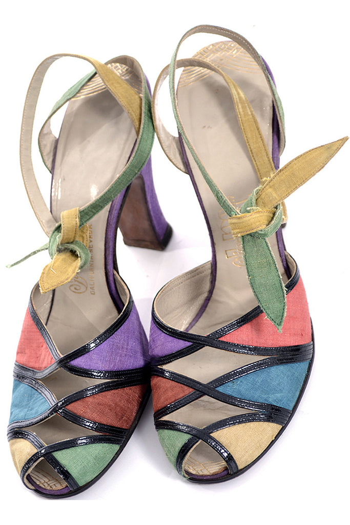 1940's Multi-Colored Peep Toe Shoes Rare Silk Ankle Strap Ties 7B