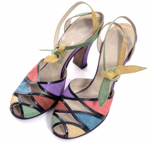 1940's Multi-Colored Peep Toe Shoes Rare Silk Ankle Strap Ties 7B - Dressing Vintage