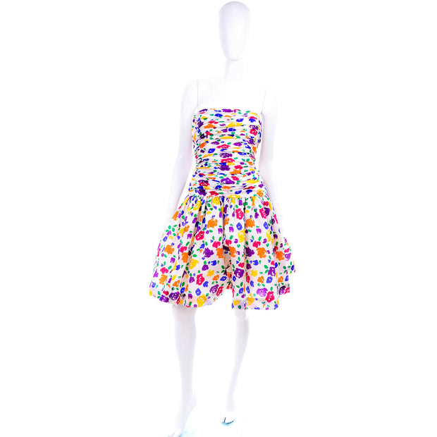 Strapless floral vintage party dress size 6