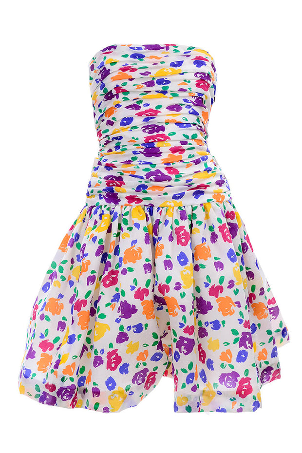 1980s Floral party dress with rouched bodice