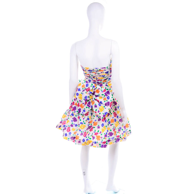 1980s Colorful Floral Strapless Summer Dress w/ Rouched Bodice