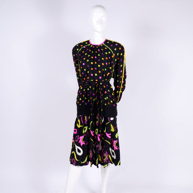Multicolored Vintage pattern mixing ensemble