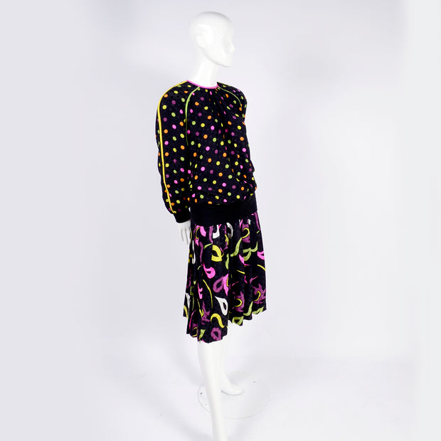 Polka dot and paisley vintage 1980's outfit oversized