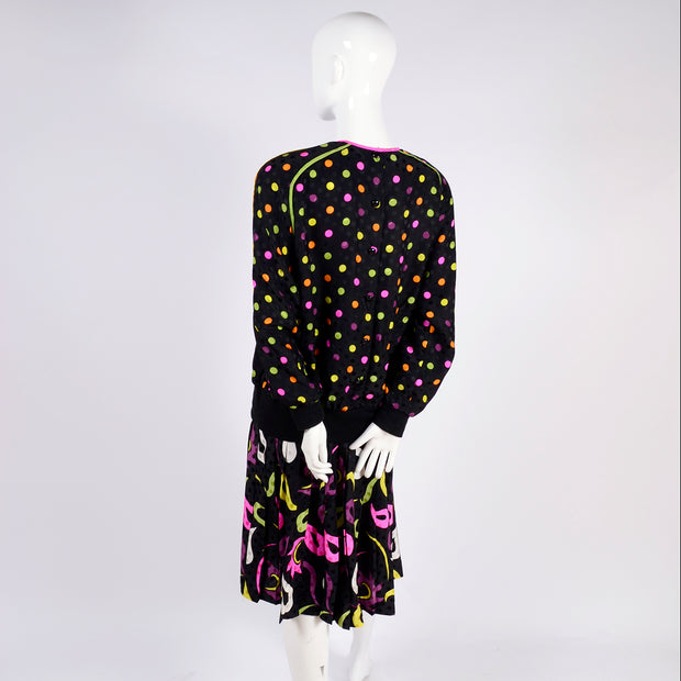 Multicolor polka dot and paisley vintage two piece dress