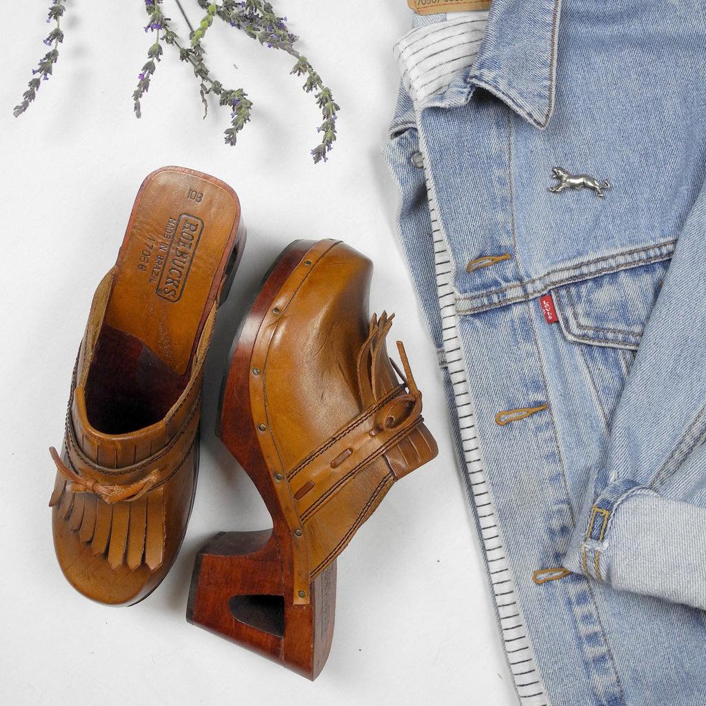 Vintage Leather Clogs Sears Roebuck