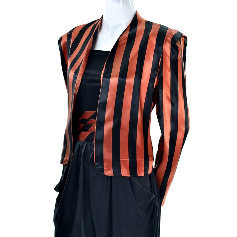 1970's Halloween ensemble with draping jersey jumpsuit and satin jacket and cummerbund for women