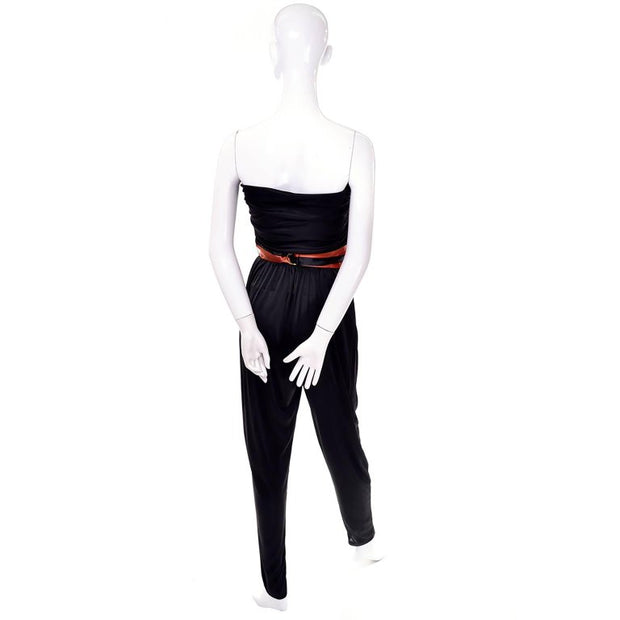 Strapless black draping jersey strapless jumpsuit and cummerbund