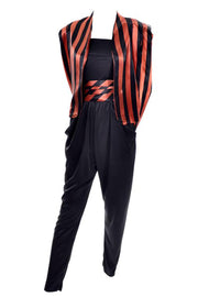 Halloween satin black and orange striped blazer and cummerbund with a black strapless jersey jumpsuit