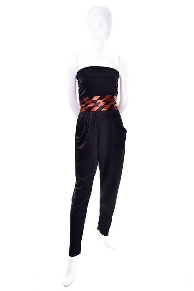 1970's vintage jumpsuit with coordinating cummerbund in black and orange stripes