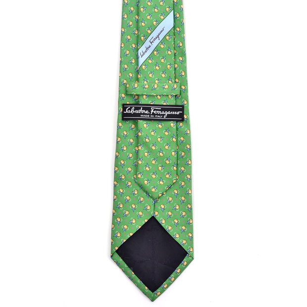 Vintage novelty pilot airplane tie kelly green Salvator Ferragamo necktie