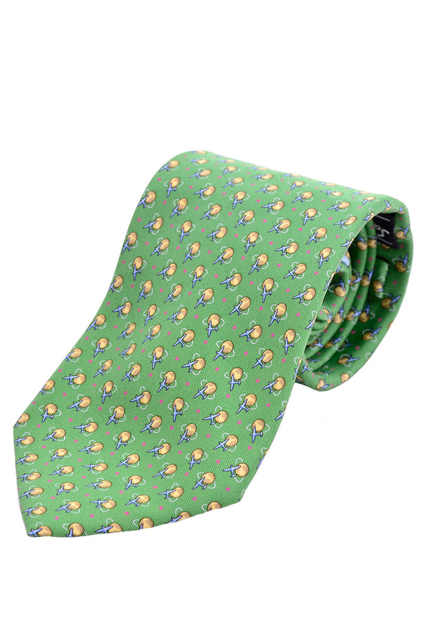 Bright green Salvator Ferragamo novelty airplane tie