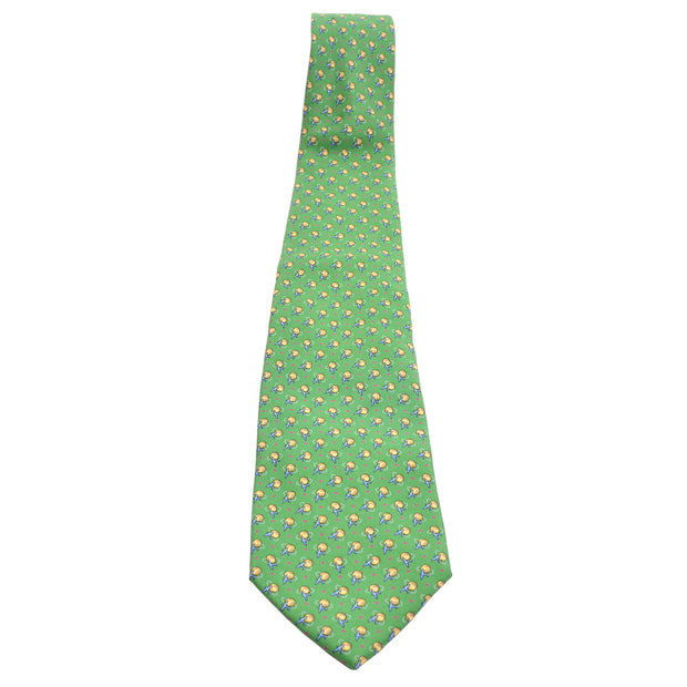 Vintage Ferragamo silk green novelty airplane print necktie