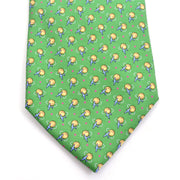 Airplane flying around the world vintage novelty tie. Kelly Green silk Salvator Ferragamo necktie