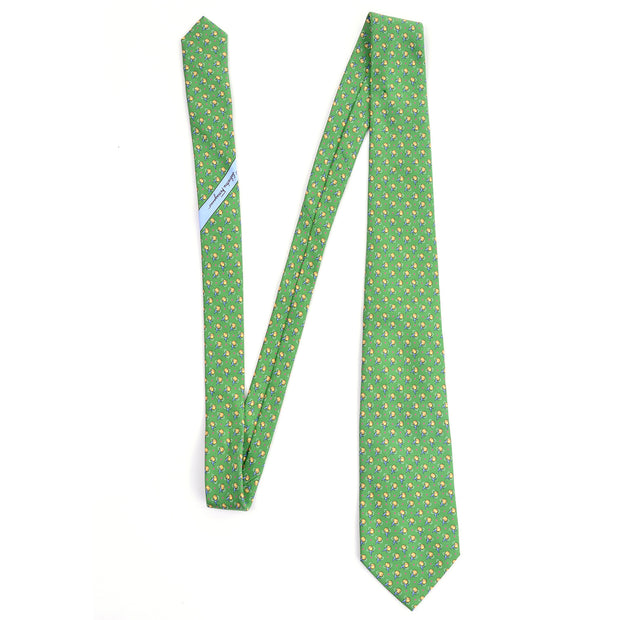 Salvator Ferragamo vintage kelly green necktie with airplane print