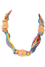 Kenneth Lane Vintage Multi Colored Cord Necklace Rare With Giant Tube Beads