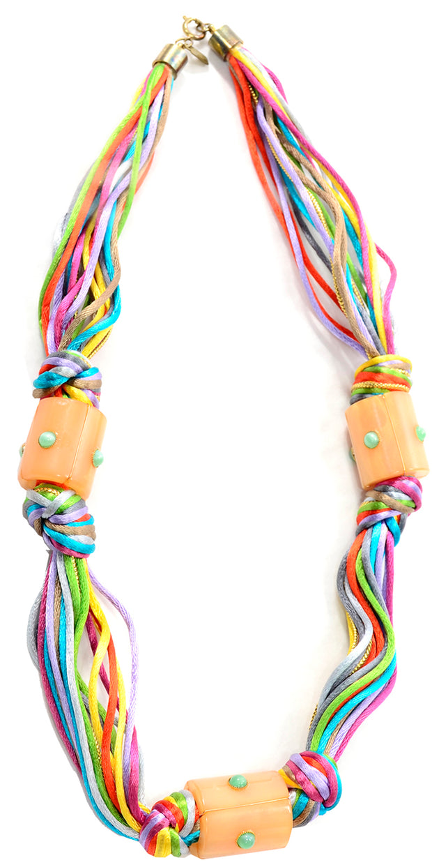 Kenneth Lane Vintage Multi Colored Cord Necklace With Giant Tube Beads