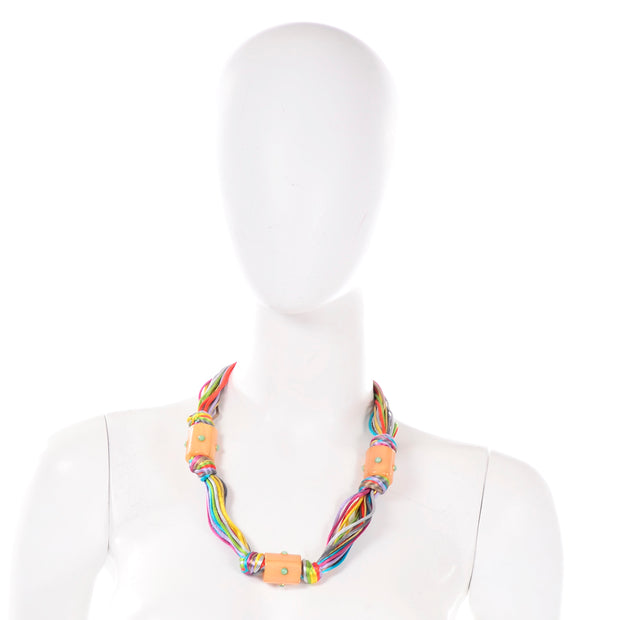 1980s Kenneth Lane Vintage Multi Colored Cord Necklace With Giant Tube Beads