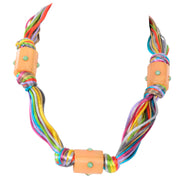 80s Kenneth Lane Vintage Multi Colored Cord Necklace With Giant Tube Beads