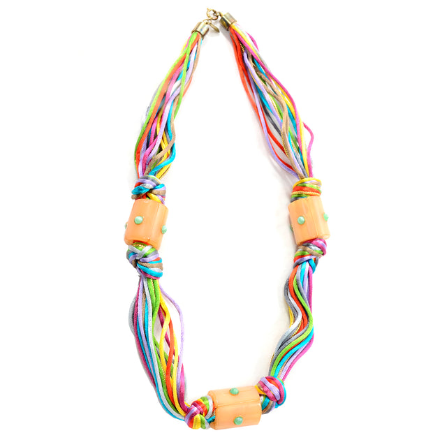 Rare  Kenneth Lane Vintage Multi Colored Cord Necklace With Giant Tube Beads