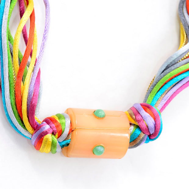 Kenneth Lane Vintage Multi Colored Cord Necklace With Giant Tube Beads Unique