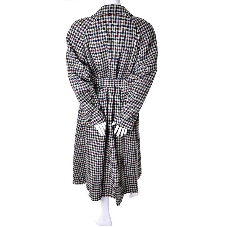 Long Kenzo coat in multicolored houndstooth plaid wool