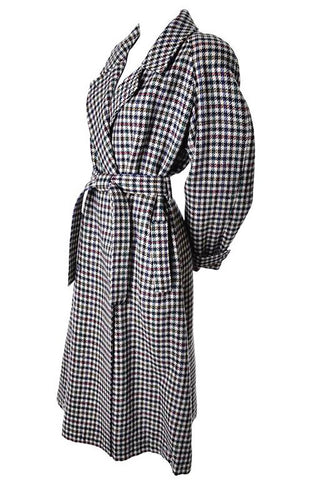 Wrap tie vintage 1980's trench coat in multi colored houndstooth plaid oversized coat