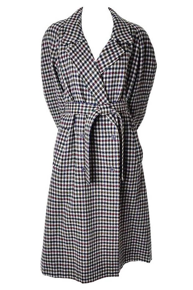 1980s Kenzo long coat in multi colored houndstooth plaid size 8/10