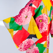 Red, yellow, pink, green zinnia kimono vintage robe
