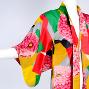 Bright yellow, green, red, pink zinnia kimono