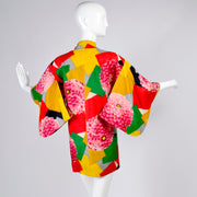 1930's vintage bright colorful short kimono