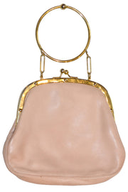 Rare vintage Koret Handbag in Pink leather with gold wrist handle - Dressing Vintage