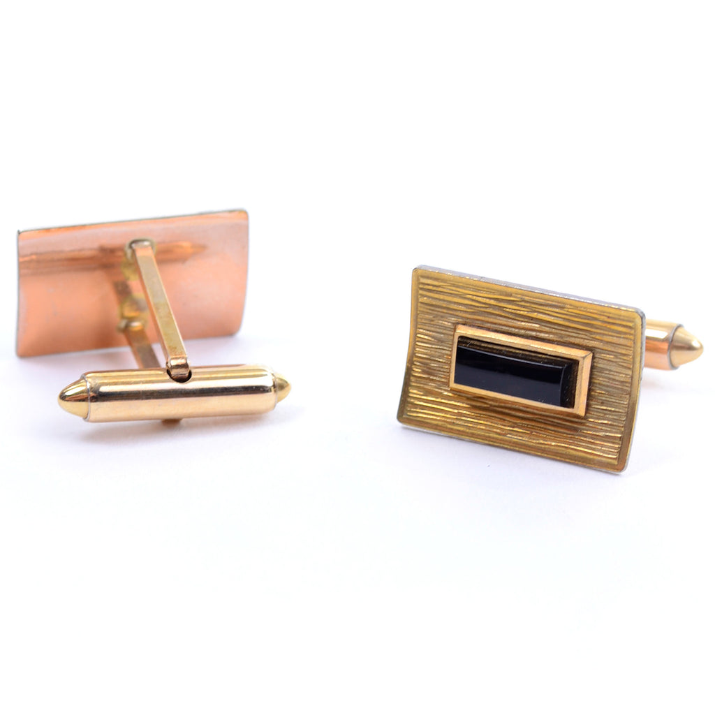 Onyx and Gold rectangular vintage cuff links