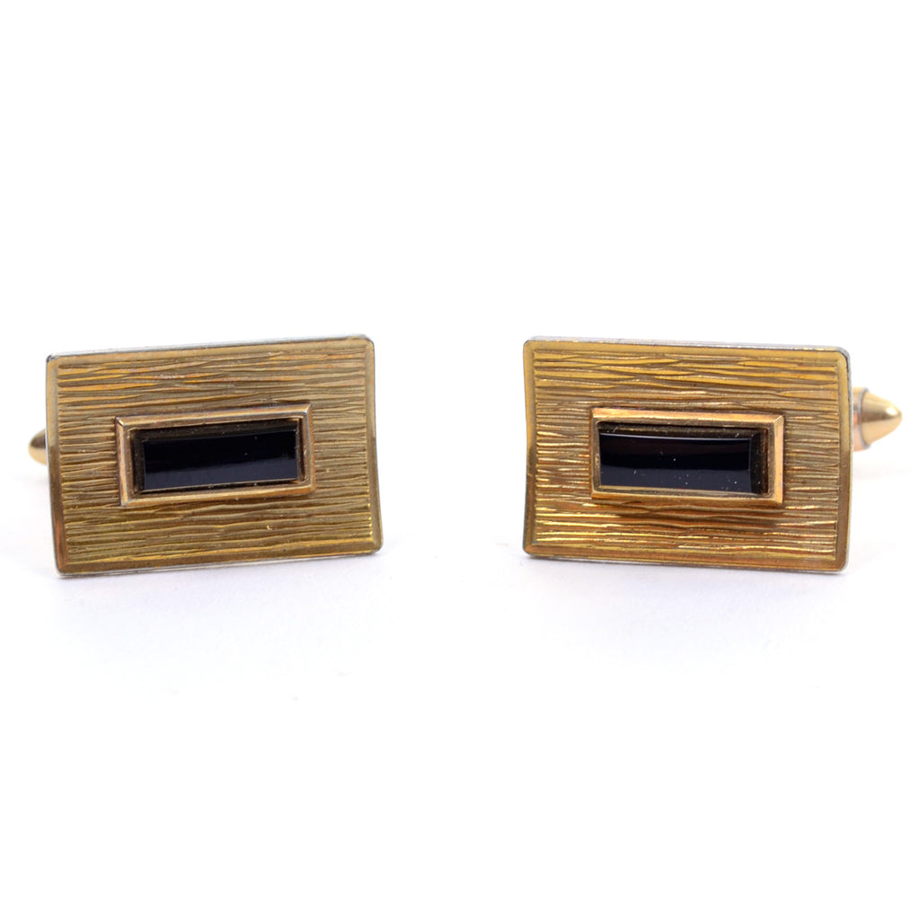 Vintage Krementz rectangular 14K gold plated cuff links with onyx stone