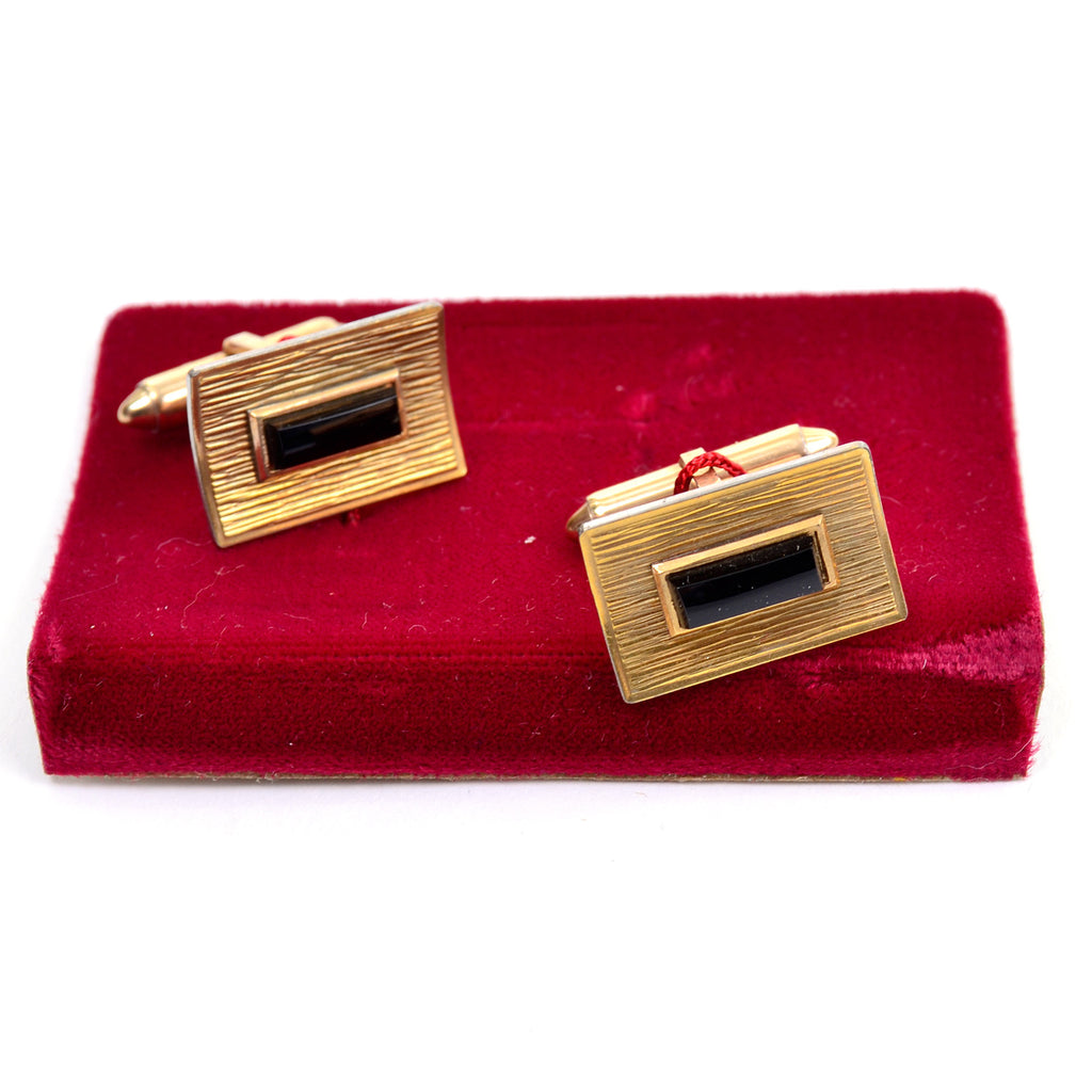 Krementz vintage rectangle cuff links with black onyx stone and 14K gold overlay