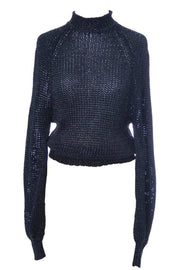 Early 1980s Krizia Maglia label stretch knit sweater with metallic black